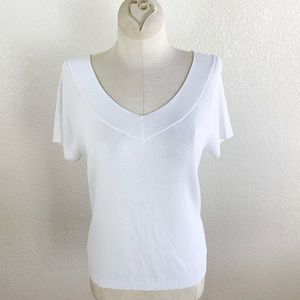 Talbots White Knit V-Neck & V-Back Knit Top